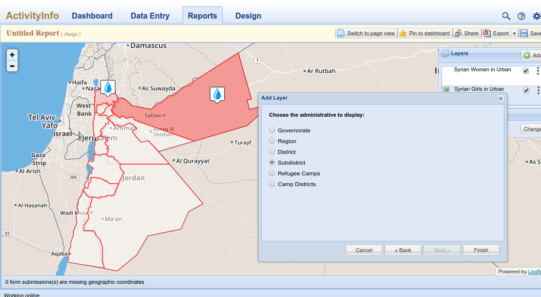 Screenshot of mapping interface