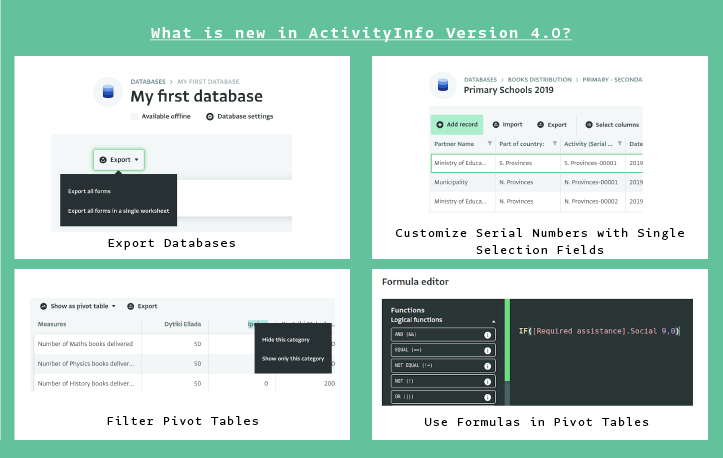 New developments in ActivityInfo Version 4.0