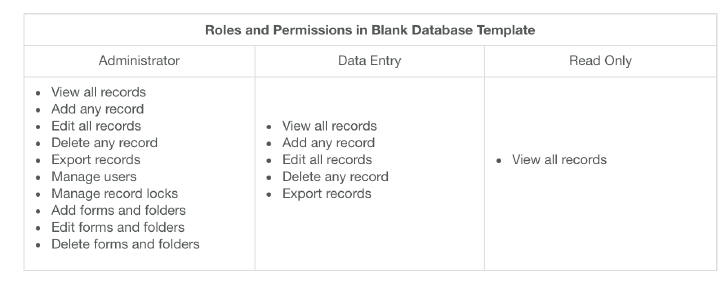The Roles and Permissions in the Blank Database template